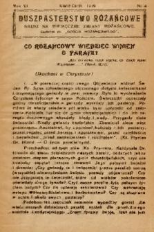 """Duszpasterstwo Różańcowe : Nauki na miesięczne zmiany różańcowe : dodatek do """"Gościa Różańcowego"""". 1939, nr 4"""