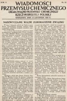 Wiadomości Przemysłu Chemicznego : organ Związku Przemysłu Chemicznego Rzeczypospolitej Polskiej. R. 10, 1935, nr22