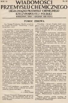 Wiadomości Przemysłu Chemicznego : organ Związku Przemysłu Chemicznego Rzeczypospolitej Polskiej. R. 11, 1936, nr23