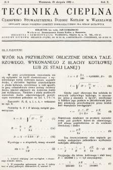 Technika Cieplna : czasopismo Stowarzyszenia Dozoru Kotłów w Warszawie : oficjalny organ Polskiego Komitetu Normalizacyjnego dla Spraw Kotłowych. R. 10, 1932, nr8