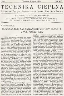 Technika Cieplna : czasopismo Związku Stowarzyszeń Dozoru Kotłów w Polsce. R. 14, 1936, nr3