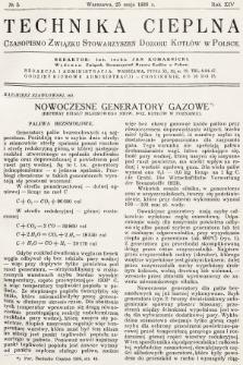Technika Cieplna : czasopismo Związku Stowarzyszeń Dozoru Kotłów w Polsce. R. 14, 1936, nr5