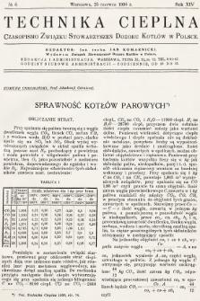Technika Cieplna : czasopismo Związku Stowarzyszeń Dozoru Kotłów w Polsce. R. 14, 1936, nr6