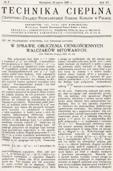 Technika Cieplna : czasopismo Związku Stowarzyszeń Dozoru Kotłów w Polsce. R. 15, 1937, nr3