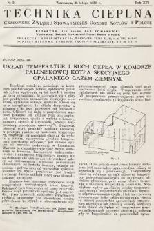 Technika Cieplna : czasopismo Związku Stowarzyszeń Dozoru Kotłów w Polsce. R. 16, 1938, nr2