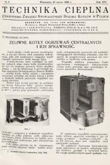 Technika Cieplna : czasopismo Związku Stowarzyszeń Dozoru Kotłów w Polsce. R. 16, 1938, nr3