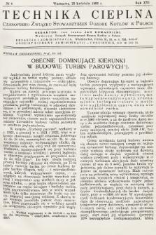 Technika Cieplna : czasopismo Związku Stowarzyszeń Dozoru Kotłów w Polsce. R. 16, 1938, nr4