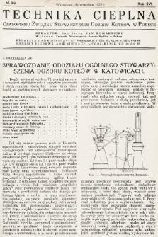Technika Cieplna : czasopismo Związku Stowarzyszeń Dozoru Kotłów w Polsce. R. 16, 1938, nr8-9