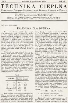 Technika Cieplna : czasopismo Związku Stowarzyszeń Dozoru Kotłów w Polsce. R. 16, 1938, nr10