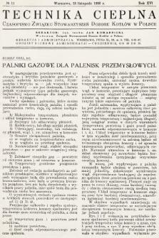 Technika Cieplna : czasopismo Związku Stowarzyszeń Dozoru Kotłów w Polsce. R. 16, 1938, nr11