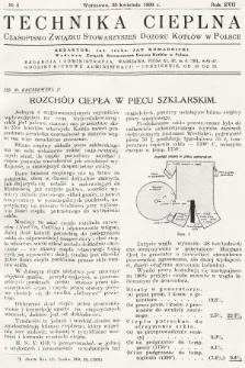 Technika Cieplna : czasopismo Związku Stowarzyszeń Dozoru Kotłów w Polsce. R. 17, 1939, nr4