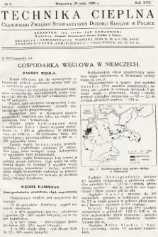 Technika Cieplna : czasopismo Związku Stowarzyszeń Dozoru Kotłów w Polsce. R. 17, 1939, nr5