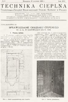 Technika Cieplna : czasopismo Związku Stowarzyszeń Dozoru Kotłów w Polsce. R. 17, 1939, nr8