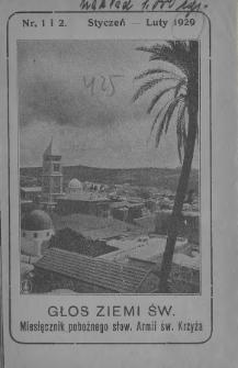 Głos Ziemi Świętej : miesięcznik pobożnego stow. Armii św. Krzyża. 1929, nr1-2