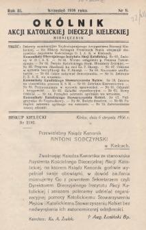 Okólnik Akcji Katolickiej Diecezji Kieleckiej. 1936, nr9