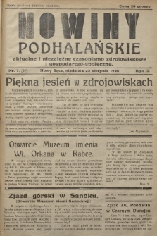Nowiny Podhalańskie : aktualne i niezależne czasopismo zdrojowiskowe i gospodarczo-społeczne. 1936, nr7 (24)