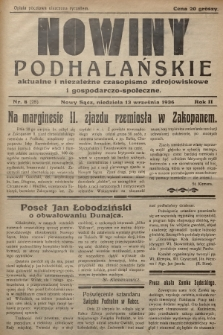 Nowiny Podhalańskie : aktualne i niezależne czasopismo zdrojowiskowe i gospodarczo-społeczne. 1936, nr8 (25)