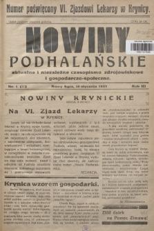 Nowiny Podhalańskie : aktualne i niezależne czasopismo zdrojowiskowe i gospodarczo-społeczne. 1937, nr1 (30)