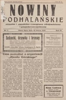 Nowiny Podhalańskie : aktualne i niezależne czasopismo zdrojowiskowe i gospodarczo-społeczne. 1938, nr4
