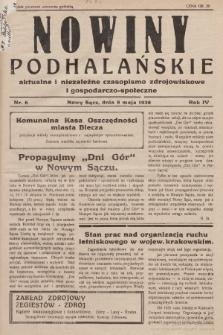 Nowiny Podhalańskie : aktualne i niezależne czasopismo zdrojowiskowe i gospodarczo-społeczne. 1938, nr6