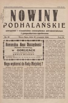Nowiny Podhalańskie : aktualne i niezależne czasopismo zdrojowiskowe i gospodarczo-społeczne. 1938, nr10
