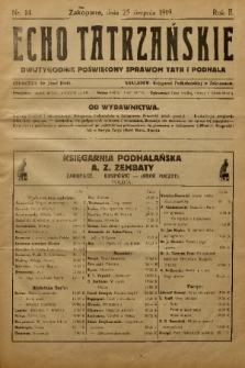 Echo Tatrzańskie: dwutygodnik poświęcony sprawom Tatr Podhala. 1919, nr 14