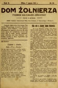 Dom Żołnierza : tygodnik kulturalno-oświatowy. 1920, nr 10