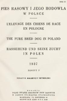 Pies Rasowy i Jego Hodowla w Polsce : kwartalnik Polskiego Związku Hodowców Psów Rasowych. R. 3, 1937, z. 2