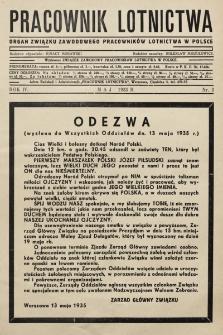 Pracownik Lotnictwa : organ Związku Zawodowego Pracowników Lotnictwa w Polsce. 1935, nr5