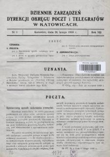Dziennik Zarządzeń Dyrekcji Okręgu Poczt i Telegrafów w Katowicach. 1939, nr1