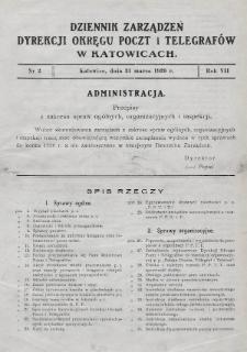 Dziennik Zarządzeń Dyrekcji Okręgu Poczt i Telegrafów w Katowicach. 1939, nr2
