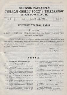 Dziennik Zarządzeń Dyrekcji Okręgu Poczt i Telegrafów w Katowicach. 1939, nr4