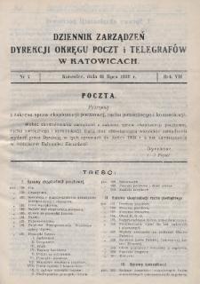 Dziennik Zarządzeń Dyrekcji Okręgu Poczt i Telegrafów w Katowicach. 1939, nr7