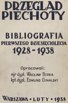 """Bibliografia pierwszego dziesięciolecia : 1928-1938 : bezpłatny dodatek dla prenumeratorów """"Przeglądu Piechoty"""" w kraju"""