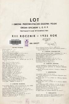 Lot i Obrona Przeciwlotniczo-Gazowa Polski. 1935, Spis rzeczy