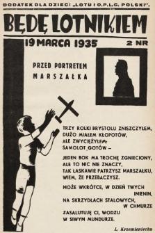"""Będę Lotnikiem : dodatek dla dzieci """"Lotu i O.P.L.G. Polski"""". 1935, nr2"""