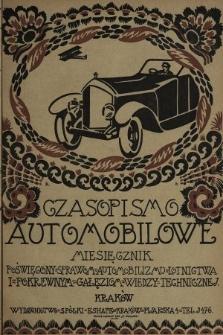 Czasopismo Automobilowe : miesięcznik poświęcony sprawom automobilizmu, lotnictwa i pokrewnym gałęziom wiedzy technicznej. 1920, nr3