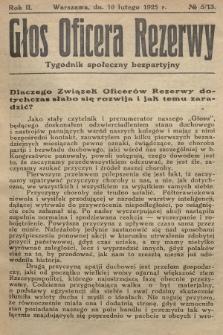 Głos Oficera Rezerwy : tygodnik społeczny bezpartyjny. 1924, nr5/13