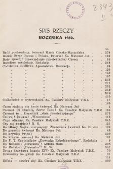 Dzwonek Rekolekcyjny z Trzebini : pisemko rekolekcyjne. 1930, Spis rzeczy