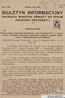 Biuletyn Informacyjny Delegata Ministra Oświaty do Spraw Ochrony Przyrody. 1948, nr1