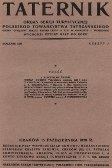 Taternik : organ Sekcji Turystycznej Polskiego Towarzystwa Tatrzańskiego : organ oficjalny Sekcji Taternickiej A. Z. S. w Krakowie : organ oficjalny Sekcji Taternickiej A. Z. S. w Warszawie. R. 13, 1929, nr3