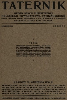 Taternik : organ Sekcji Turystycznej Polskiego Towarzystwa Tatrzańskiego : organ oficjalny Sekcji Taternickiej A. Z. S. w Krakowie : organ oficjalny Sekcji Taternickiej A. Z. S. w Warszawie. R. 14, 1930, nr3