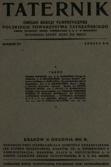 Taternik : organ Sekcji Turystycznej Polskiego Towarzystwa Tatrzańskiego : organ oficjalny Sekcji Taternickiej A. Z. S. w Krakowie. R. 15, 1931, nr5-6