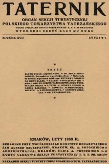 Taternik : organ Sekcji Turystycznej Polskiego Towarzystwa Tatrzańskiego : organ oficjalny Sekcji Taternickiej A. Z. S. w Krakowie. R. 17, 1933, nr1