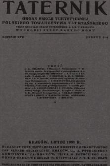 Taternik : organ Sekcji Turystycznej Polskiego Towarzystwa Tatrzańskiego : organ oficjalny Sekcji Taternickiej A. Z. S. w Krakowie. R. 17, 1933, nr3-4