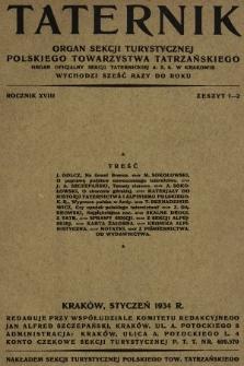 Taternik : organ Sekcji Turystycznej Polskiego Towarzystwa Tatrzańskiego : organ oficjalny Sekcji Taternickiej A. Z. S. w Krakowie. R. 18, 1934, nr1-2