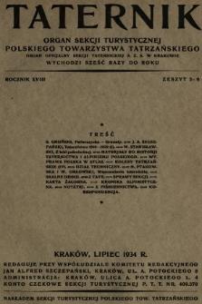 Taternik : organ Sekcji Turystycznej Polskiego Towarzystwa Tatrzańskiego : organ oficjalny Sekcji Taternickiej A. Z. S. w Krakowie. R. 18, 1934, nr5-6