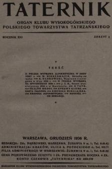 Taternik : organ Klubu Wysokogórskiego Polskiego Towarzystwa Tatrzańskiego. R. 21, 1936, nr1
