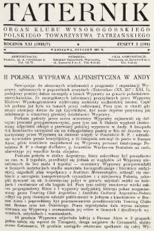Taternik : organ Klubu Wysokogórskiego Polskiego Towarzystwa Tatrzańskiego. R. 21, 1937, nr2