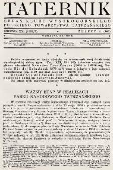 Taternik : organ Klubu Wysokogórskiego Polskiego Towarzystwa Tatrzańskiego. R. 21, 1937, nr4